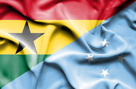 micronesia: Waving flag of Micronesia and Ghana