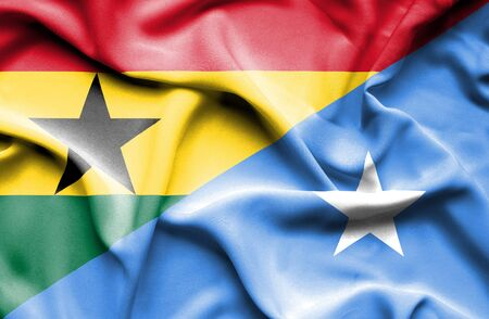 somalian culture: Waving flag of Somalia and Ghana Stock Photo