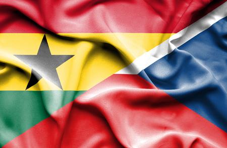 the czech republic: Waving flag of Czech Republic and Ghana