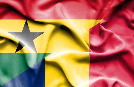 chad: Waving flag of Chad and Ghana Stock Photo