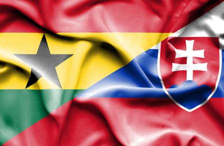 slovakia: Waving flag of Slovakia and Ghana