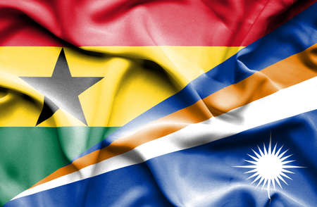 marshall: Waving flag of Marshall Islands and Ghana Stock Photo