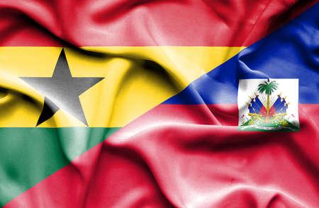 haiti: Waving flag of Haiti and Ghana