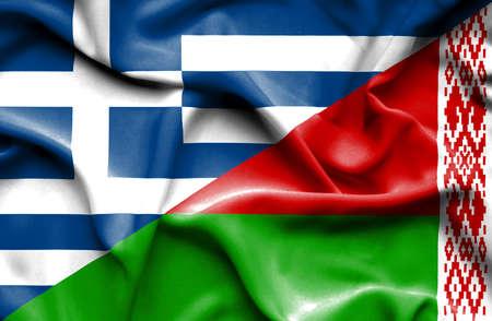 belarus: Waving flag of Belarus and