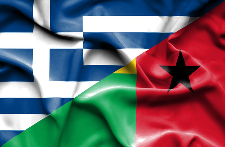 guinea bissau: Waving flag of Guinea Bissau and