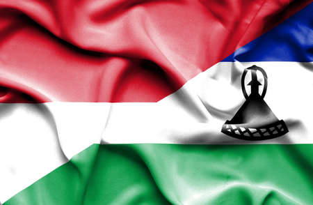 lesotho: Waving flag of Lesotho and Indonesia Stock Photo