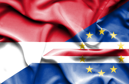 an        verde: Waving flag of Cape Verde and Indonesia