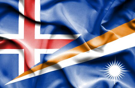 marshall: Waving flag of Marshall Islands and Iceland