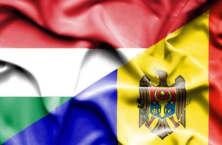 moldavia: Waving flag of Moldavia and Hungary