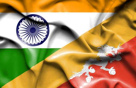bhutan: Waving flag of Bhutan and Stock Photo