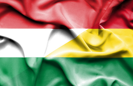 bolivia: Waving flag of Bolivia and Hungary