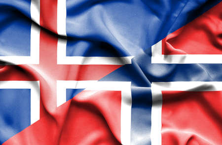 norway flag: Waving flag of Norway and Iceland