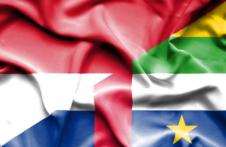 central african republic: Waving flag of Central African Republic and Indonesia