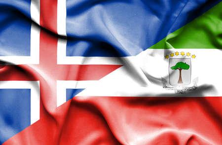 equatorial: Waving flag of Equatorial Giuinea and Iceland