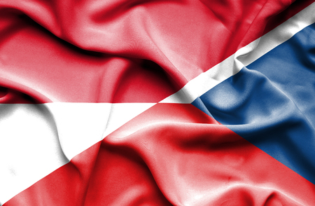national flag indonesian flag: Waving flag of Czech Republic and Indonesia Stock Photo