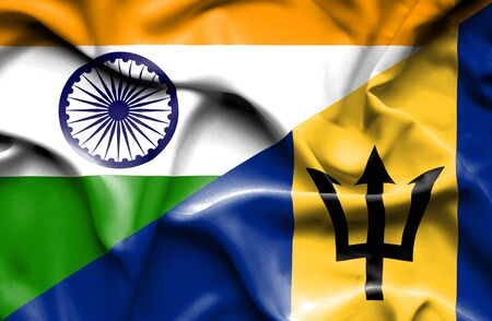 barbados: Waving flag of Barbados and