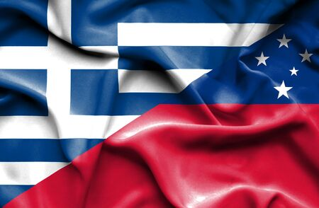 samoa: Waving flag of Samoa and