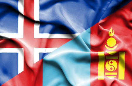 iceland: Waving flag of Mongolia and Iceland
