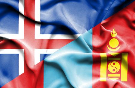 mongolia: Waving flag of Mongolia and Iceland