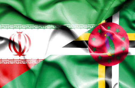 dominica: Waving flag of Dominica and Iran