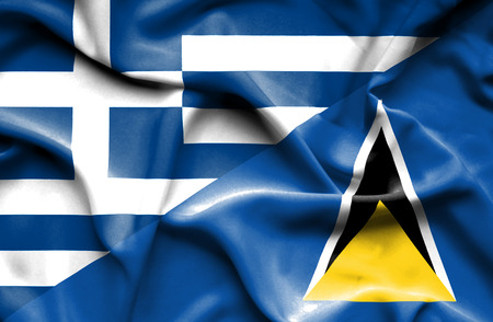 st: Waving flag of St Lucia and Stock Photo