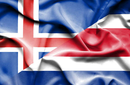 costa: Waving flag of Costa Rica and Iceland Stock Photo