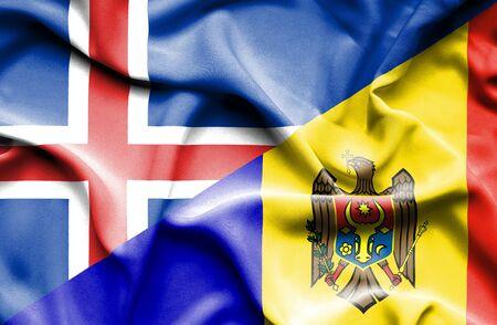 moldavia: Waving flag of Moldavia and Iceland