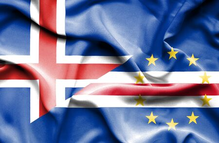 cape verde: Waving flag of Cape Verde and Iceland Stock Photo