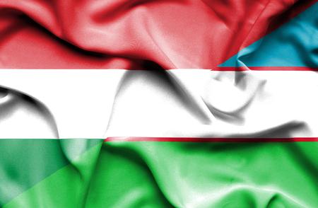 uzbekistan: Waving flag of Uzbekistan and Hungary
