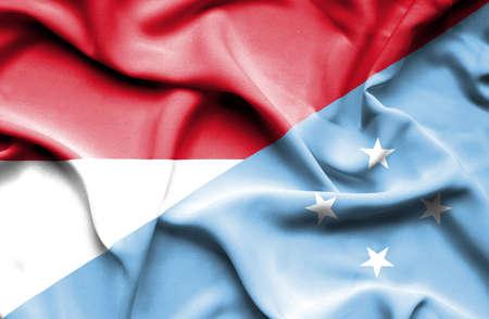 micronesia: Waving flag of Micronesia and Indonesia