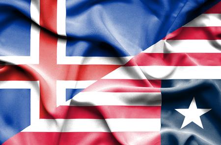 liberia: Waving flag of Liberia and Iceland Stock Photo