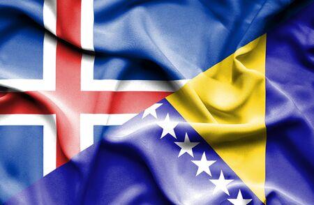 bosnia and  herzegovina: Waving flag of Bosnia and Herzegovina and Iceland