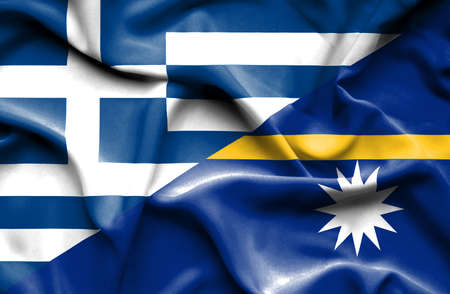 nauru: Waving flag of Nauru and