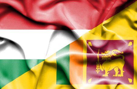 sri lanka: Waving flag of Sri Lanka and Hungary