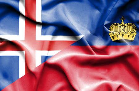 lichtenstein: Waving flag of Lichtenstein and Iceland Stock Photo