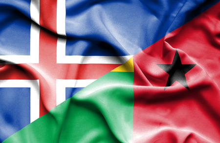 guinea bissau: Waving flag of Guinea Bissau and Iceland