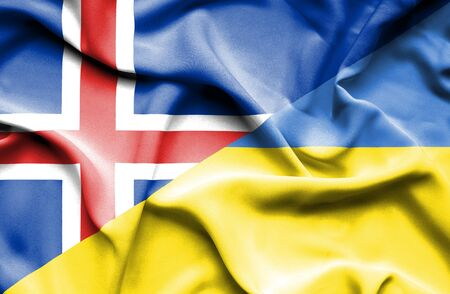 iceland: Waving flag of Ukraine and Iceland