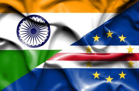 cape verde: Waving flag of Cape Verde and