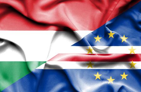 cape verde: Waving flag of Cape Verde and Hungary