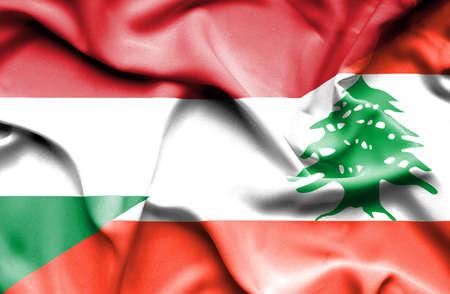 lebanon: Waving flag of Lebanon and Hungary