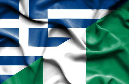 nigeria: Waving flag of Nigeria and