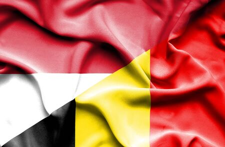 national flag indonesian flag: Waving flag of Belgium and Indonesia