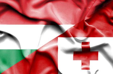 tonga: Waving flag of Tonga and Hungary Stock Photo