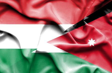 jordan: Waving flag of Jordan and Hungary Stock Photo