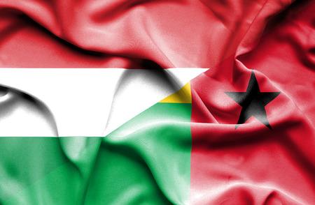 guinea: Waving flag of Guinea Bissau and Hungary