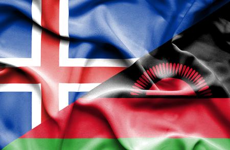 malawian flag: Waving flag of Malawi and Iceland