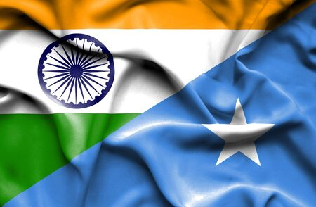 somalia: Waving flag of Somalia and Stock Photo
