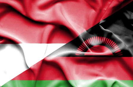 malawian: Waving flag of Malawi and Indonesia