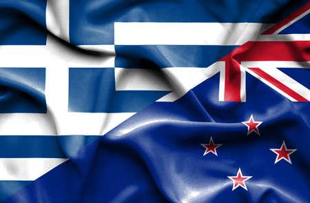 bandera de nueva zelanda: Ondeando la bandera de Nueva Zelanda y