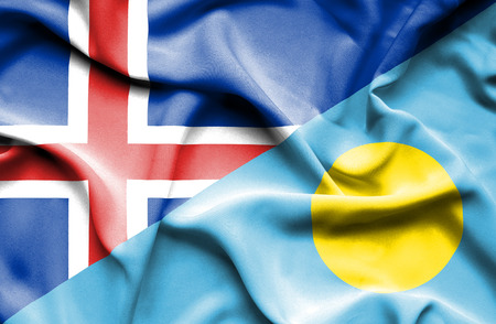 iceland: Waving flag of Palau and Iceland